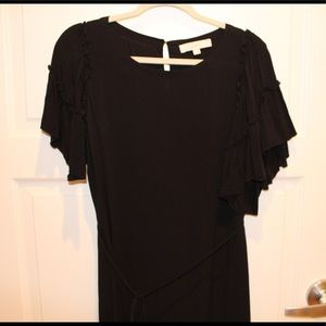 LOFT Black Dress with Ruffled Sleeves